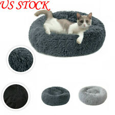 US Pet Dog Cats Calming Bed Warm Soft Plush Round Cute Nest Comfortable Sleeping