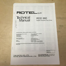 Rotel Service Manual for the RDD-980 CD Drive Player ~ Repair