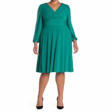 Eliza J Womens V Neck Green Long Sleeve Fit & Flare Dress Plus Sz 20W Summer NWT