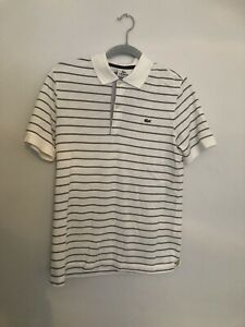 SMALL SIZE 3 WHITE HOOPED LACOSTE SHORT SLEEVE POLO SHIRT  ..80'S CASUALS..