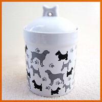 Porcelain Pet Dog Treat/Food Container (New) Ceramic Storage Jar Holder Canister
