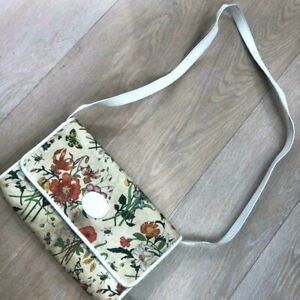 Auth Gucci Flower Shoulder bag Sling Vintage PCV Leather USED White G0530