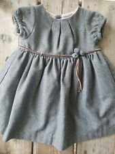 Jacadi Paris Designer Gray Wool Blend Pleated Belted Fully Lined Dress Size 18Mo