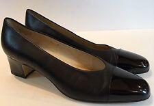 Etienne Aigner Woman's Heels Black Leather Cap Toe Sz 10 Made In Spain