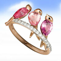 EG_ 3 Birds Animals Rings Statement Jewelry Ruby Ring for Women Size 6-10 Utilit