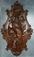ANTIQUE BLACK FOREST WALNUT CARVED TROPHY PLAQUE:1880