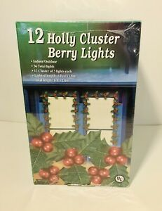 Vintage Christmas Holly Berry Light Sets 3 Brand New Boxes 108 Total Lights