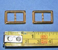 Zwei Metall Schnallen für Puppen Schuhe Gürtel Hüte Kleider Träger ca.18x12mm