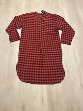 Polo Ralph Lauren Flannel Buffalo Plaid Pajama Sleep Shirt Long Gown Nightshirt
