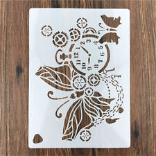 Clock Butterfly Reusable Stencil DIY Scrapbooking Stamping Embossing Paper Hot