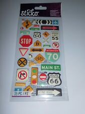 Scrapbooking Crafts Stickers Puffy Travel Icons Road Signs Rout 66 Stop Arrows