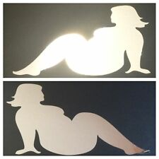 NEW CHROME FAT TRUCKER GIRLS MUDFLAP BBW DECAL STICKER FORD CHEVY DODGE HONDA VW
