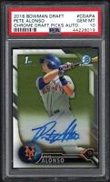 2016 Bowman Draft #CDAPA PETE ALONSO RC Chrome Draft Picks Auto PSA 10 GEM MINT