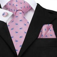 USA Christmas Flamingo Pink Blue Mens Tie Necktie Silk Jacquard Set Wedding
