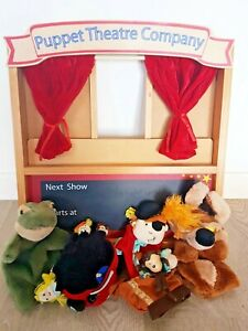 ELC Wooden Folding Toy Puppet Theatre & Hand Finger Puppets