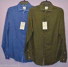 Murano 100% Linen Men Slim Fit Buttons Flap Front Long Sleeve Shirt Top  M L XL