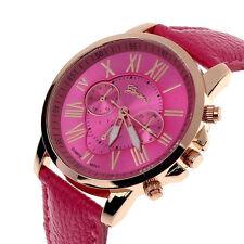 Women Watch Fashion Geneva Roman Numerals Faux Leather Analog Quartz Wrist Watch