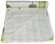 COTTON HANDMADE KANTHA STITCH QUILT THROW BED SPREADS KING SIZE White Bedspread