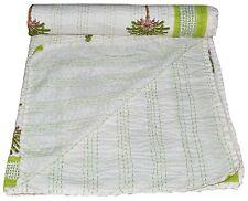 COTTON HANDMADE KANTHA STITCH QUILT THROW BED SPREADS KING SIZE White Bedspread