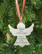 Angel Christmas Xmas Tree Hanging Metal Decoration Personalised Engraved