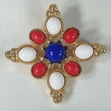 Sarah Coventry Americana Brooch Red White Blue Maltese Gold Tone Starburst Pin