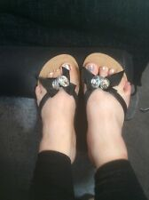 worn diamonte flipflops size 5