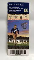 Notre Dame Irish Purdue 2006 Football Ticket Stub John Lattner Heisman Winner
