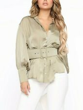 Long Sleeves Button Down Shirt Belted Satin Light Olive Green Blouse Top Small S