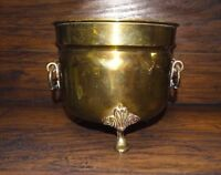 14078/ Vintage BRASS Footed PLANTER w Double Handles ~ Estate Item