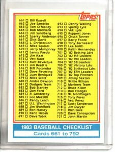 1983 TOPPS CHECKLIST 661-792 (NM/MT OR BETTER) //
