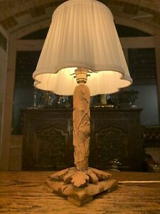 Naturalistic Hand Carved English Oak Table Lamp, Arts & Crafts Style, Mouseman