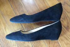Prada Suede Black Square Toe Shoes Platform New Size 35.5