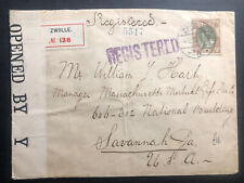 1916 Zwolle Netherlands WW1 Censored Cover To Savannah GA USA
