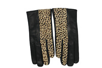 Women's Leather Gloves | Made In Italy | Premium Cashmere Lined Leopard Top
