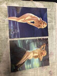 "Vintage Lot Of 2 Art Deco Pin Up Art Prints 8""x6"""
