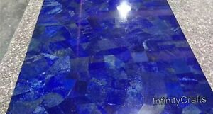 Lapis Lazuli Stones Inlaid Marble Bar Table Top Blue Dining Table Size 36 Inches