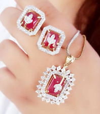 Trending Pendant Red American Diamond Set Necklace Jewelry Women
