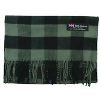 Unisex 100% CASHMERE Scarf Square Buffalo check Wool SCOTLAND Gray Green