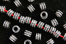 50 X ANTIQUE SILVER~ROUND~TIBETAN STYLE~SPACER BEADS, 6 x 4.5 MM, HOLE~3 MM