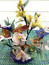 VTG CHINESE ROSE QUARTZ & GREEN STONE FLOWER BOUQUET IN CLOISONNE VASE