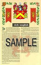 RICH Armorial Name History - Coat of Arms - Family Crest GIFT! 11x17