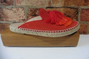 AIR & GRACE LONDON RED SUEDE TASSLE SLIP ON SHOES SIZE 37 UK 4