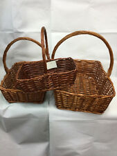 3 rectangle brown Cane basket with handle VALUE SET (SMALL + MEDIUM + LARGE)