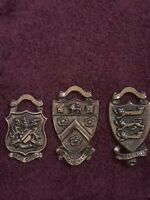 """Brass Set Of Coat of Arms Sign Plaques 3"""" England"""