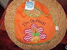 I'M STUFFED Thanksgiving Turkey Baby Bib Cute Appliqued Turkey with Bow Tie