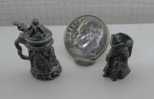Dollhouse Miniature Pewter Beer Stein & Toby Mug 2 piece Set 1:12 scale