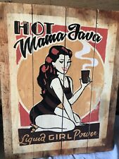 Wooden Large Painted Hot Java SIGN Wall Plaque Quirky Gift Kitchen