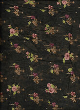 New Florentine Roses and Berries on Brown 100% Cotton Fabric by the Quarter Yard