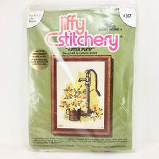 """Jiffy Stitchery Water Pump Yellow Flowers 5""""x7"""" Sunset Kit #267 NEW Vintage"""