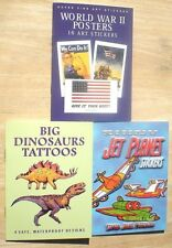 Dover Stickers & Tattoos WORLD WAR II POSTERS, JET PLANES, DINOSAURS 3 Booklets